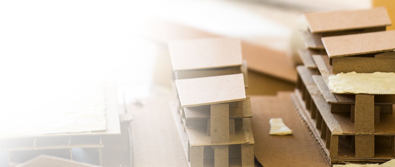Detailed shot of student work involving cardboard structures