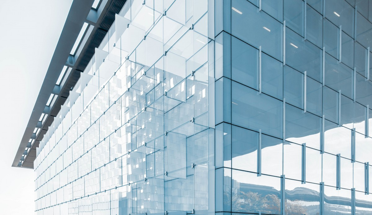 Stock photo of a glass wall on a building
