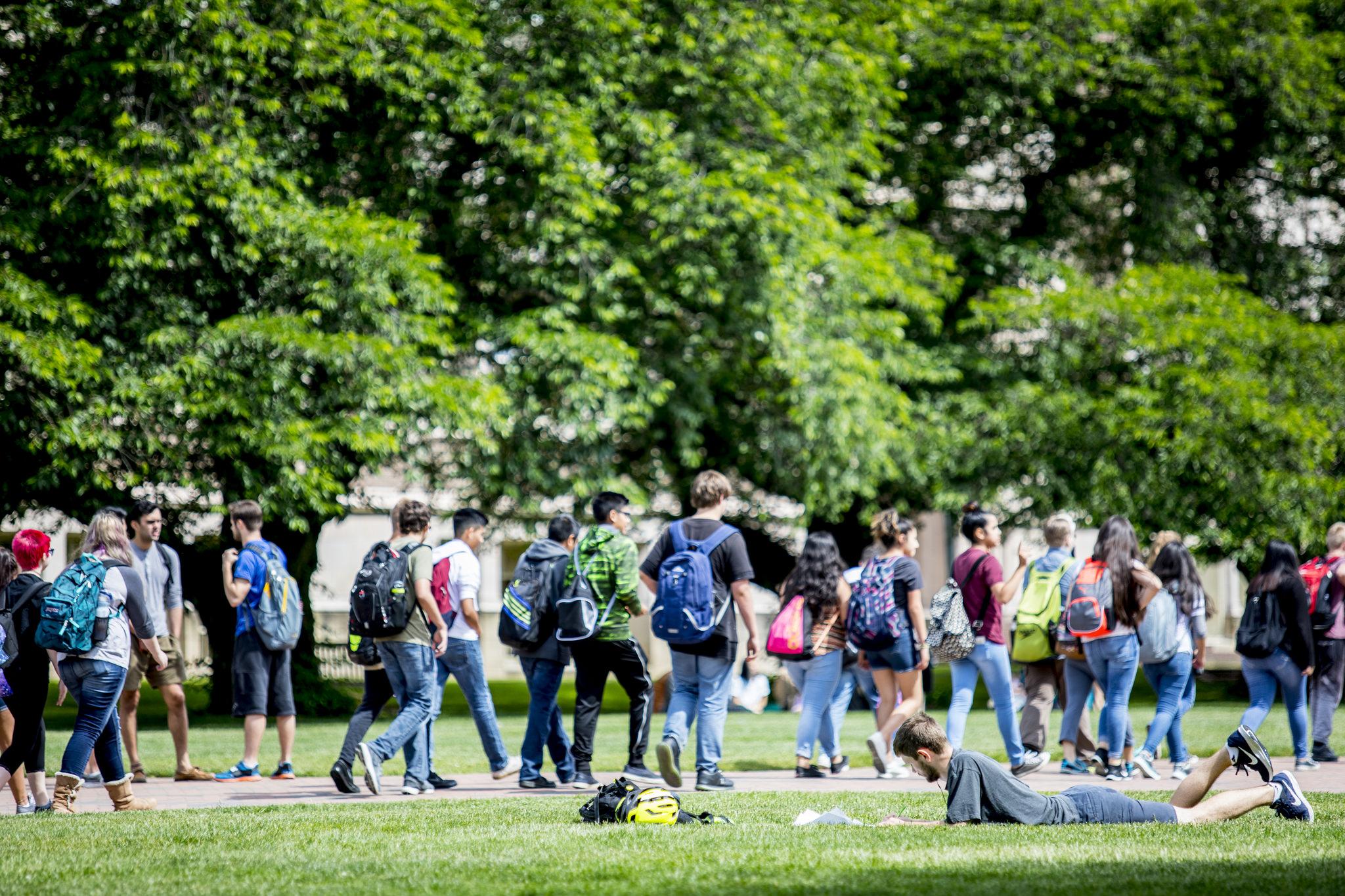 UW Students walking around campus