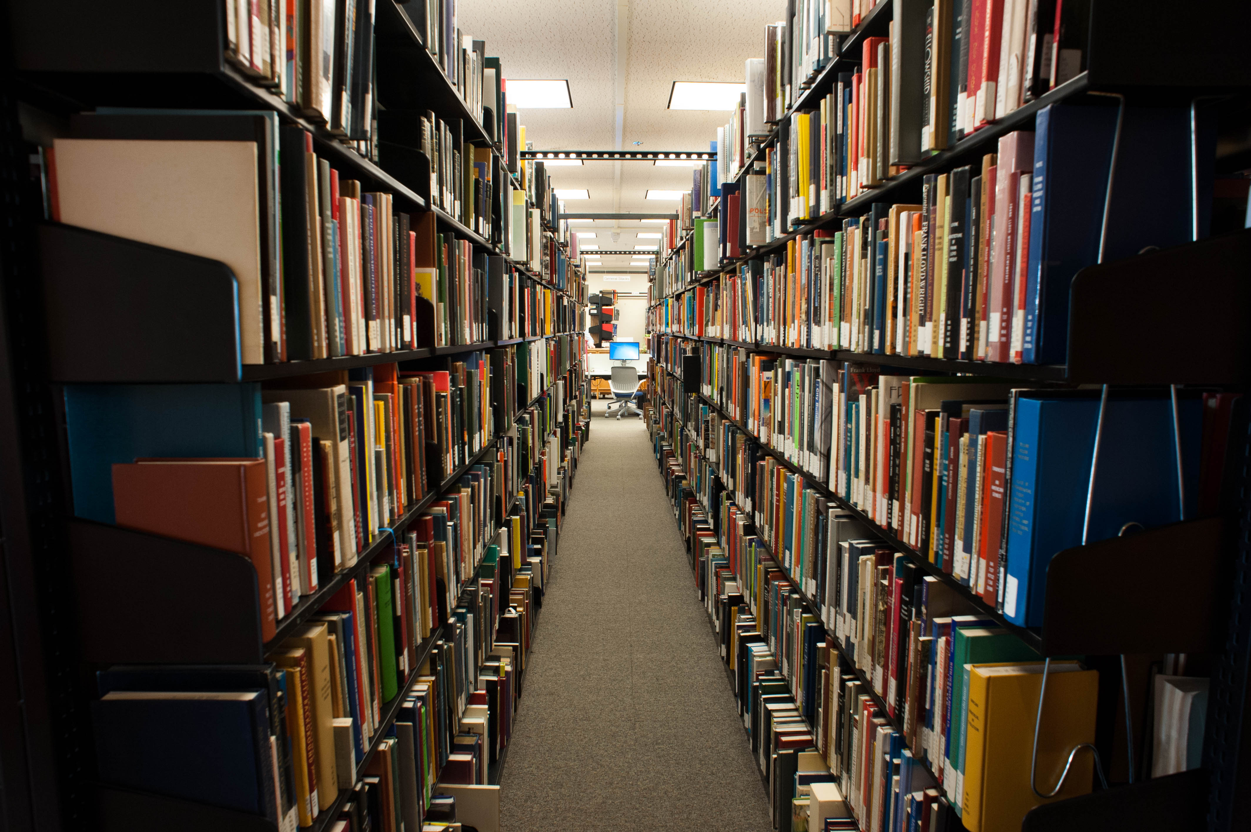 Rows and rows of multicolored books