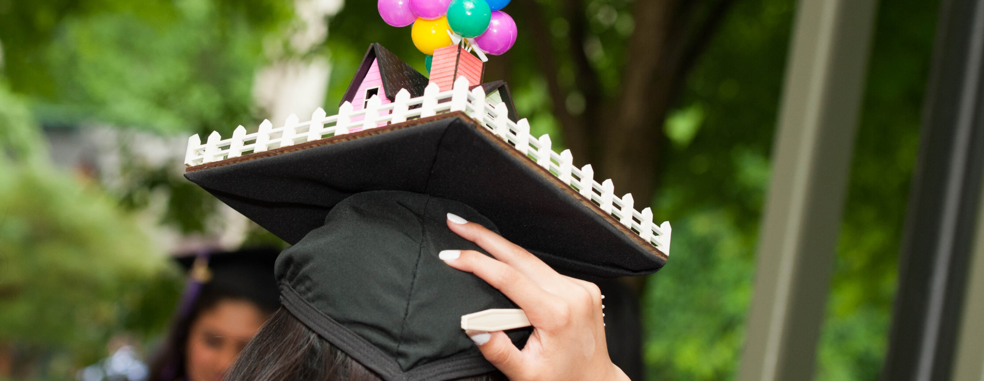 Close up of a student's mortar board cap with structure
