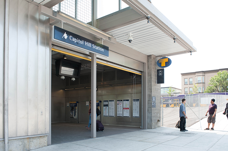 The entrance to the Capitol Hill Light Rail station